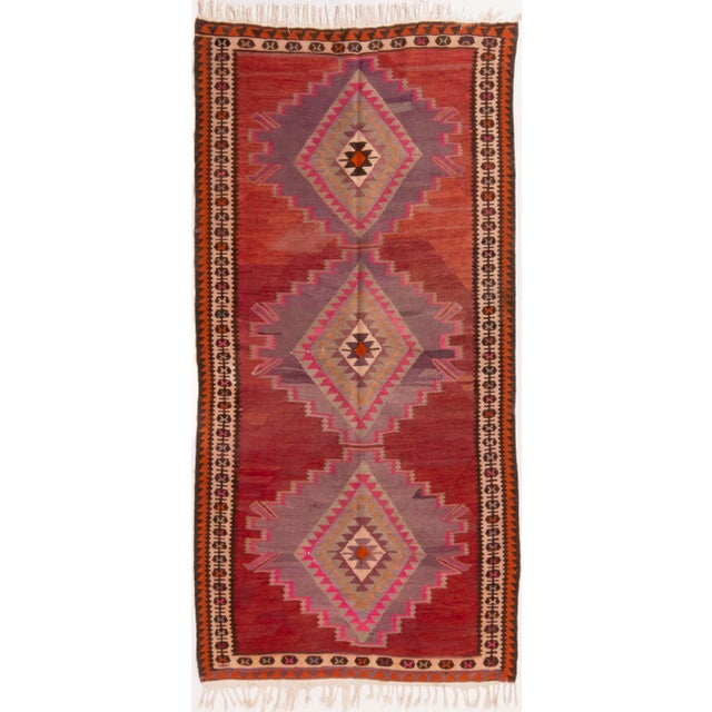Vintage Mid-Century Red Geometric Wool Kilim Rug - 4′4″ × 9′4″ For Sale In New York - Image 6 of 6