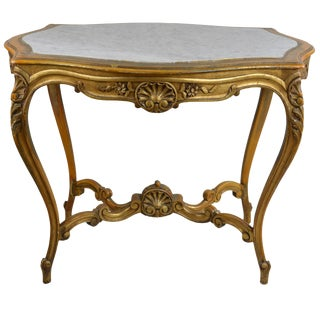 Antique Giltwood Center Table With Marble Turtle Shaped Top For Sale