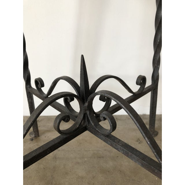 Mediterranean Mediterranean Tile Top Wrought Iron Side Table For Sale - Image 3 of 7