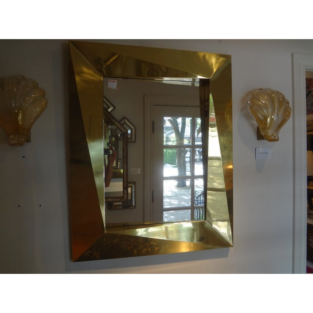 Italian Brass Modernist Geometric Mirror For Sale - Image 9 of 10