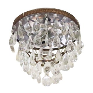 1940s Salvaged Waldorf Crystal & Brass Flush Mount For Sale