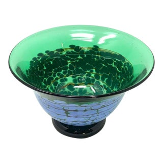 Blue and Green Art Glass Bowl by Richardson For Sale