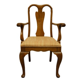 Antique Davis Cabinet Co. Walnut Traditional Style Splat Back Dining Arm Chair For Sale