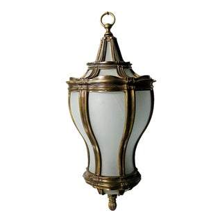 Late 20th Century Brass and Curved Glass Hanging Lantern For Sale