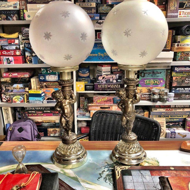 1950s Vintage Brass Cherub Lamps - A Pair For Sale - Image 9 of 9