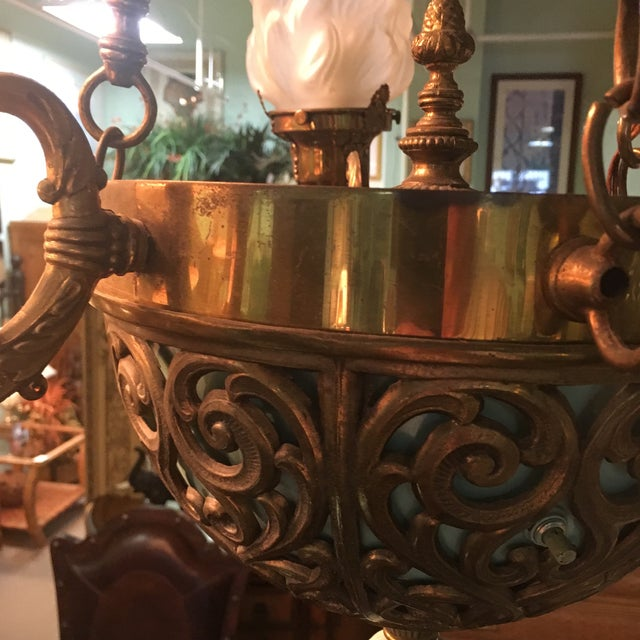 Antique Bronze French Art Deco Chandelier With Lalique Style Globes For Sale - Image 10 of 10