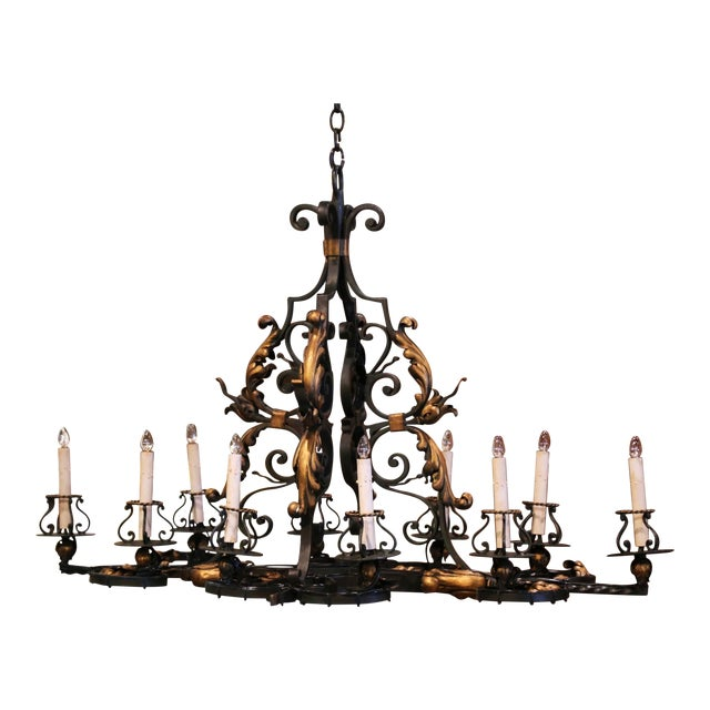 Early 20th Century French Painted & Gilt Iron Flat Bottom Ten-Light Chandelier For Sale