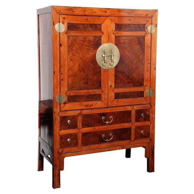 Large Chinese Hebei Burl Wood Paneled Cabinet With Brass Hardware C. 1900 For Sale - Image 11 of 11