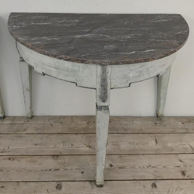 Pair 19th Century Swedish Painted Demilune Consoles For Sale - Image 11 of 13