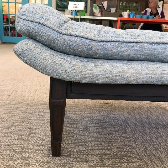 Asian Ming Style Mid-Century Blue Tweed Tufted Ottoman For Sale - Image 3 of 8
