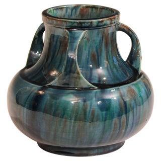 Awaji Pottery Art Deco Japanese Vintage Studio Vase in Blue Flambé Drip Glaze For Sale