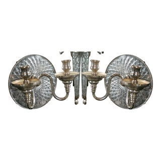 Caldwell Neoclassical Silver Plated Sconces - a Pair For Sale