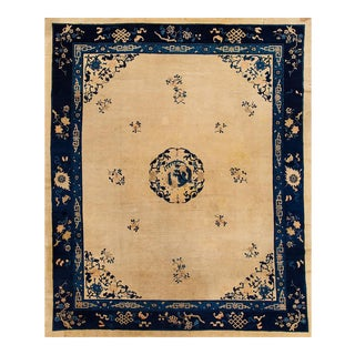 """Oversize Antique Beige and Blue Chinese Peking Carpet, 11'1"""" x 13'"""