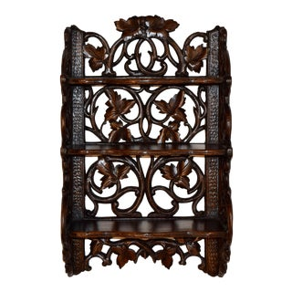 19th C Black Forest Carved Wall Shelf For Sale