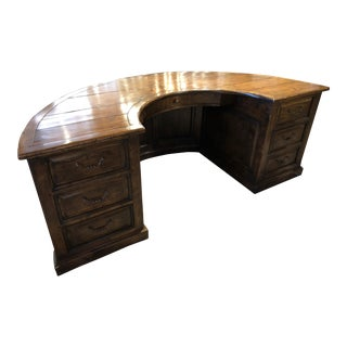 Semi-Circular Wood Desk For Sale