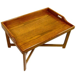 Solid Oak Tray Top Table For Sale