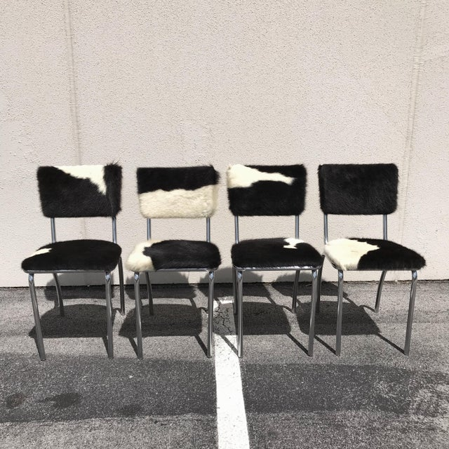 Cowhide Upholstered Chrome Chairs - Set of 4 For Sale - Image 11 of 11