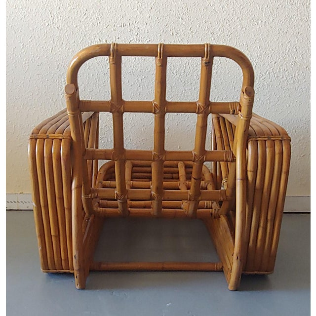 Paul Frankl Mid 20th Century Paul Frankl Style Swoop Seat Rattan Lounge Chair For Sale - Image 4 of 13