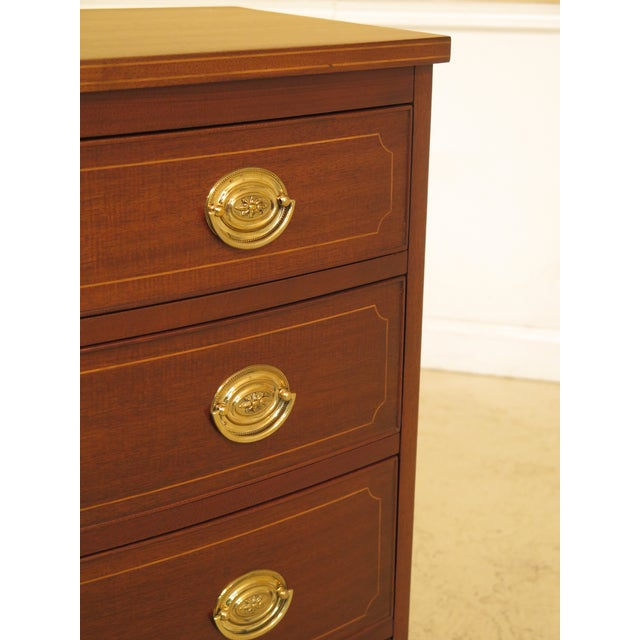 1960s Federal Biggs Inlaid Mahogany 4 Drawer Bow Front Chest For Sale In Philadelphia - Image 6 of 13