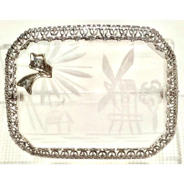 Antique Platinum Etched Crystal & Diamond Brooch For Sale - Image 9 of 9