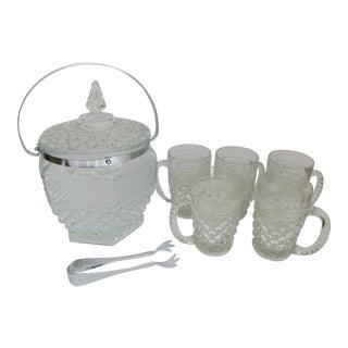 Wexford Glass Ice Bucket & Glass Mugs - Set of 6