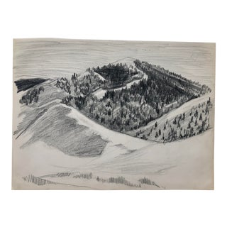 1950s Drawing of a Ski Slope For Sale