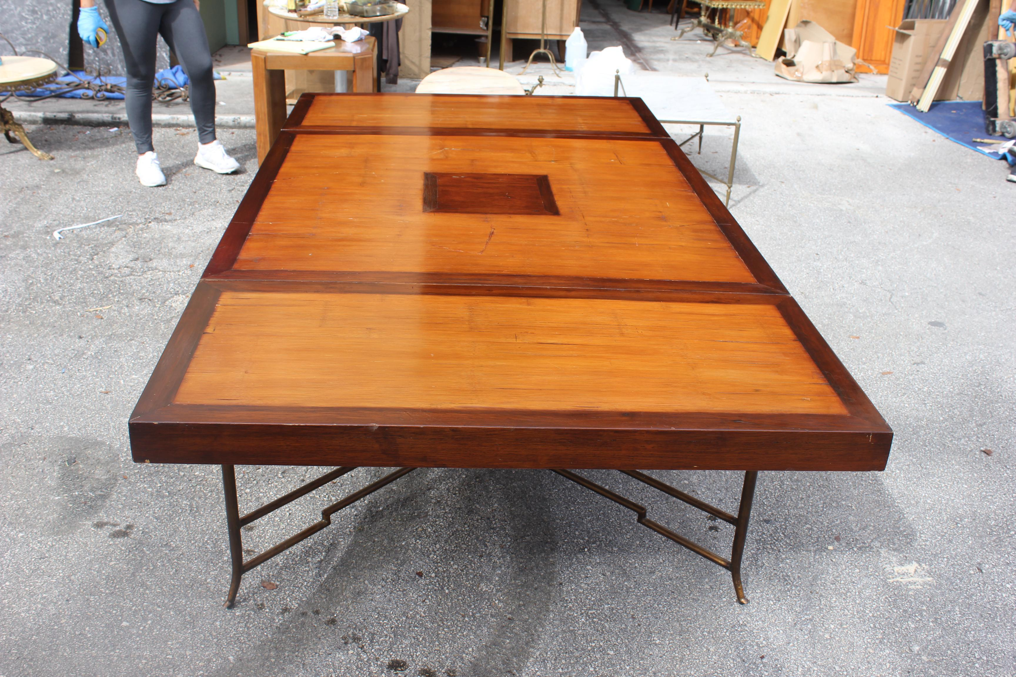 Long French Mid Century Solid Mahogany Dining Table With Brass Legs Circa  1950s   Image 2
