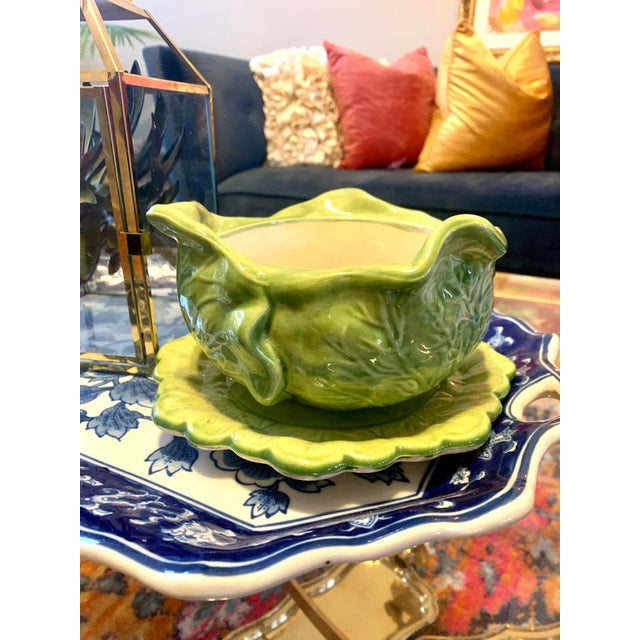 Asian 1950s Cabbage Leaf Bowl/Tureen For Sale - Image 3 of 5