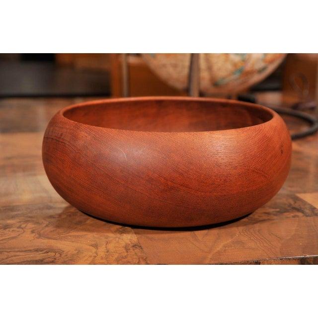 1950s 1950's Hand Turned Danish Teak Bowl For Sale - Image 5 of 6