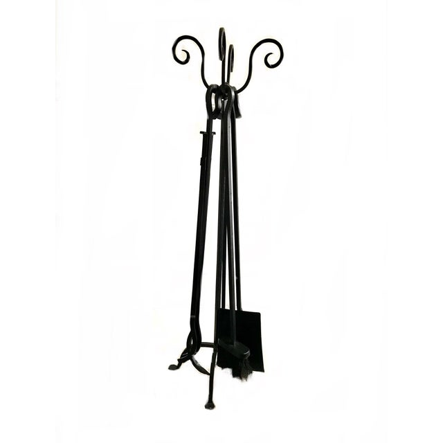Metal Mid-Century Iron Fire Place Set/ Black Metal Handle Fireplace Tool Set - 4 Piece Fireplace Tools For Sale - Image 7 of 7