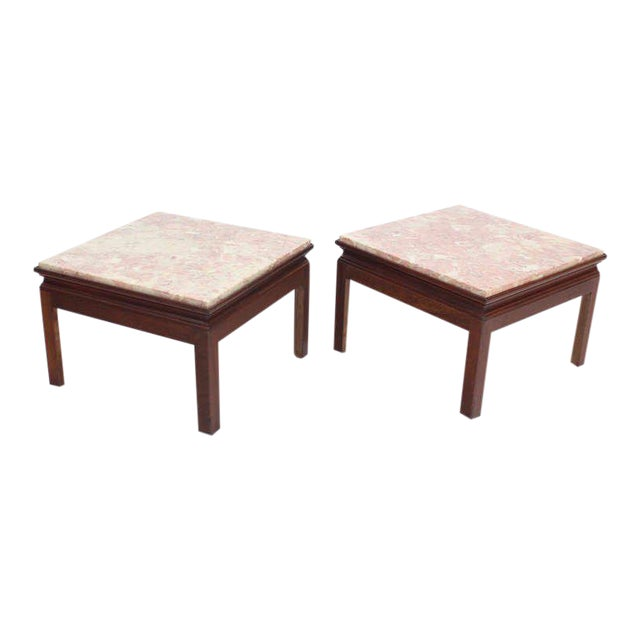 Mid-Century Modern Pair of Marble-Top Low End Tables For Sale