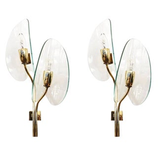 Cristal Art Brass and Glass Wall Lights - a Pair For Sale
