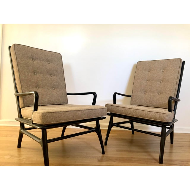 Mid Century Ebonized Chairs - a Pair For Sale In Los Angeles - Image 6 of 8