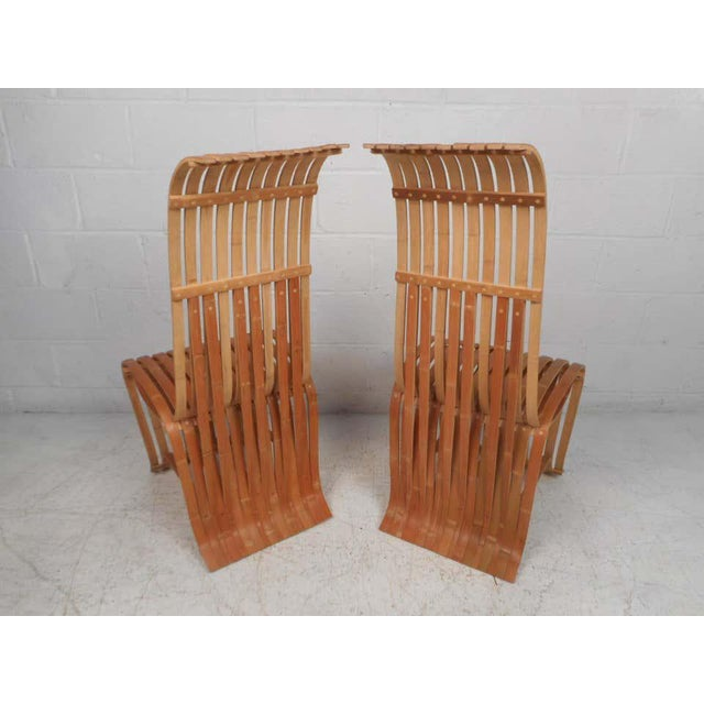 Pair of Vintage Wood-Slat Chairs For Sale - Image 4 of 11
