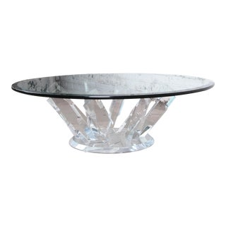 Mid-Century Modern Hollywood Regency Sculpted Lucite and Glass Cocktail Table, 1970s For Sale
