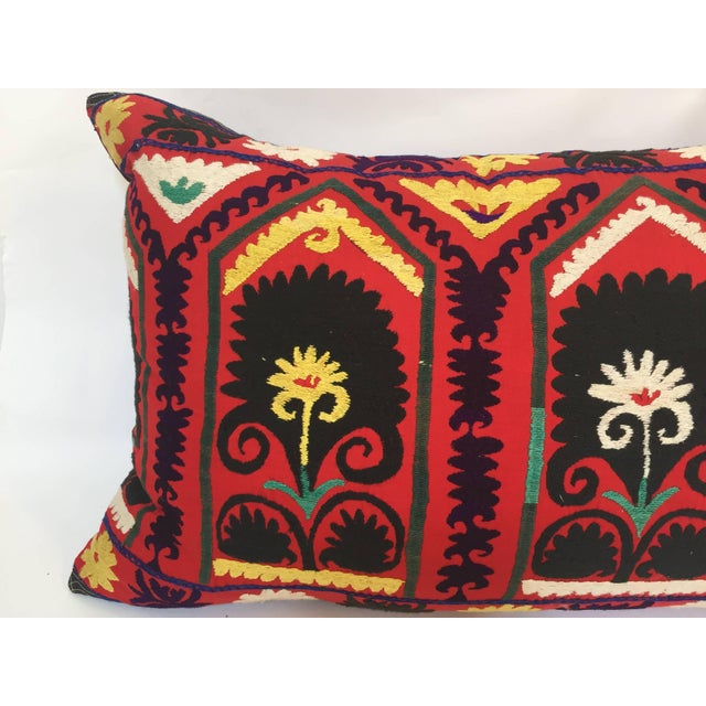 Early 20th Century Vintage Large Colorful Suzani Embroidery Decorative Throw Pillow From Uzbekistan For Sale - Image 5 of 13