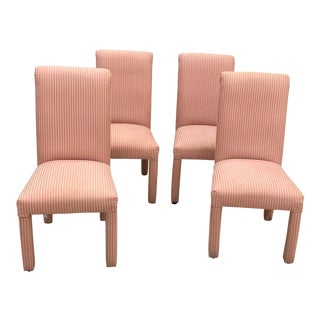 1980s Modern Salmon Stripe Upholstered Parson's Chairs - Set of 4 For Sale