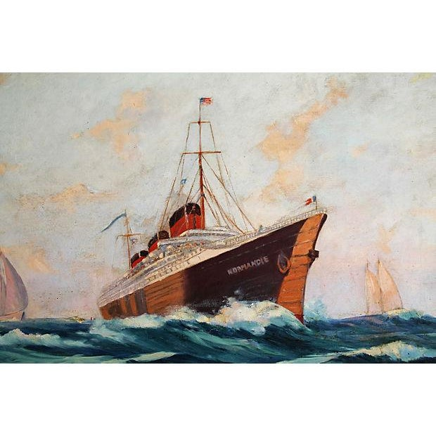 Canvas French Oil Painting S S Normandie Oceanliner For Sale - Image 7 of 8