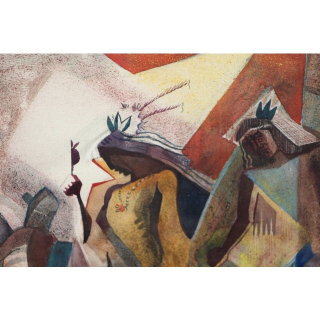 A cubist feeling Native American Indian themed mixed media painting on paper by the noted Southwest painter Lloyd Moylan...