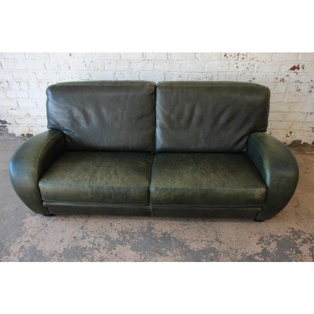 1970s Roche Bobois Art Deco Green Leather Sofa For Sale - Image 5 of 8