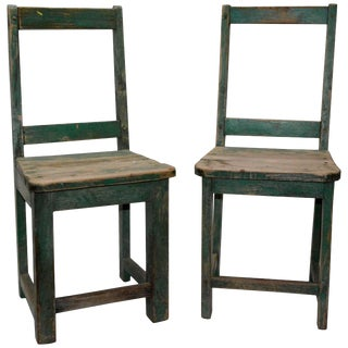 Pair of Primitive Spanish Folk Art Chairs For Sale