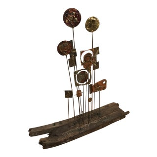1970s Rustic Metal and Wood Organic Abstract Sculpture For Sale
