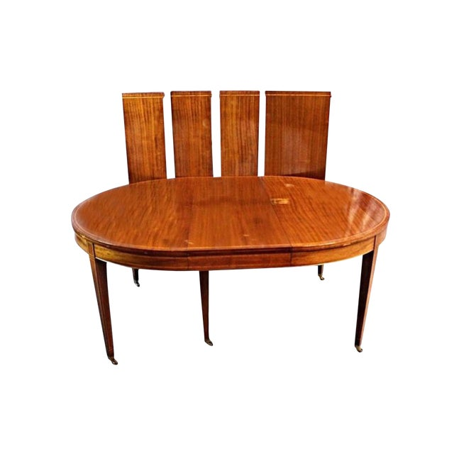 Sheraton Style Inlaid Dining Table With Five Leaves - Image 1 of 10