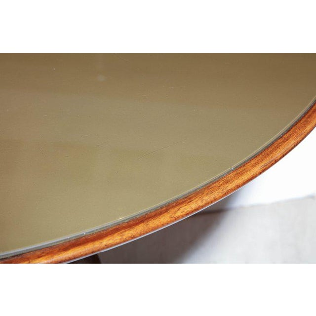 Italian Mid-Century Circular Wood Center Table With Reverse Painted Gold Glass Top For Sale - Image 3 of 8