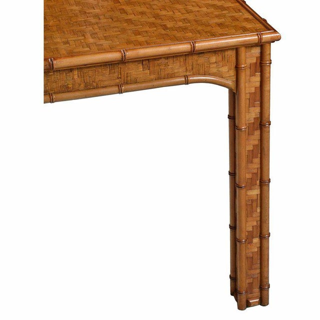 Hollywood Regency Parsons Style Rattan Basket Weave Parquet Dining Table For Sale - Image 4 of 6
