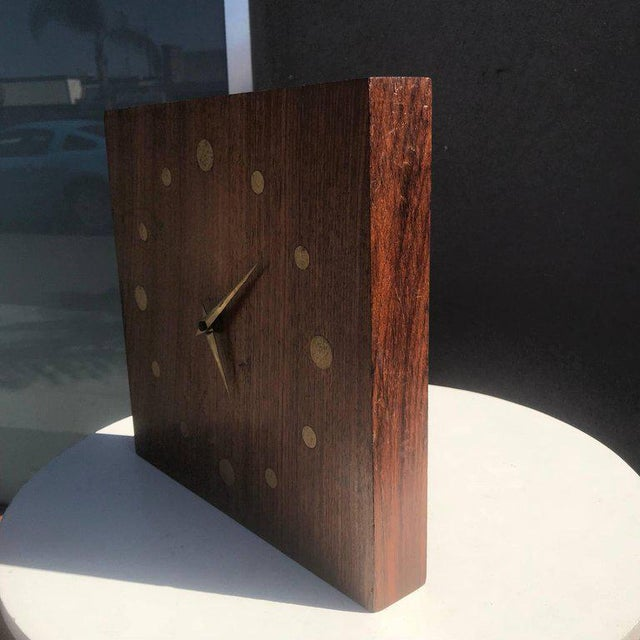 Mid-Century Modern Mid-Century Modern Wall Rosewood and Brass Clock For Sale - Image 3 of 5