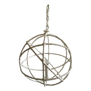 Mathieu Challieres French Plaster Orb Chandelier For Sale