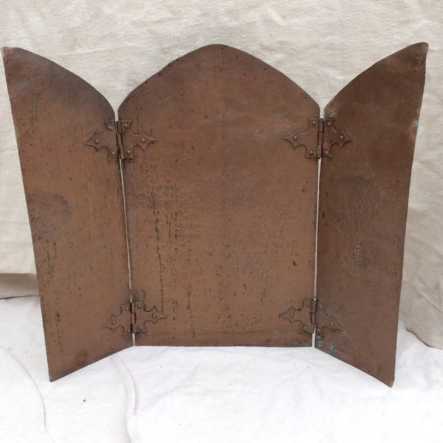Nice small Hammered Copper folding screen. This may have set in front of a small fire box or kitchen accent piece. It has...
