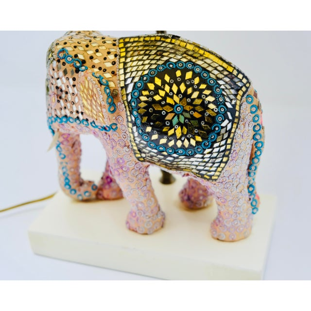 Vintage Boho Beaded Indian Elephant Lamp For Sale In Chicago - Image 6 of 7