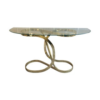 1980s Scrolled Sculptural Brass Console Table